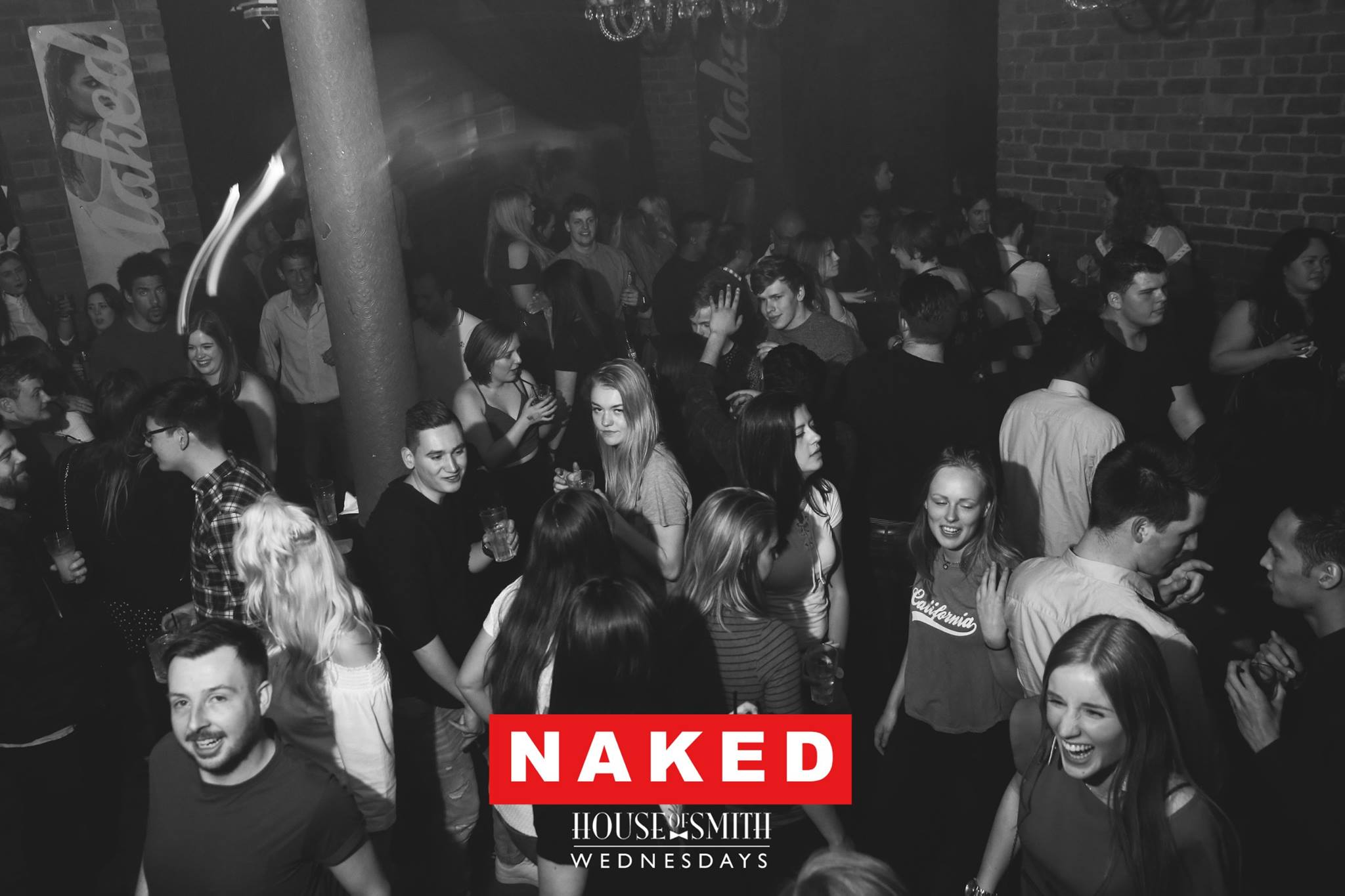 Club Night Guide to Newcastle Nightclubs, featuring a black and white image of people on the dance floor at House of Smith