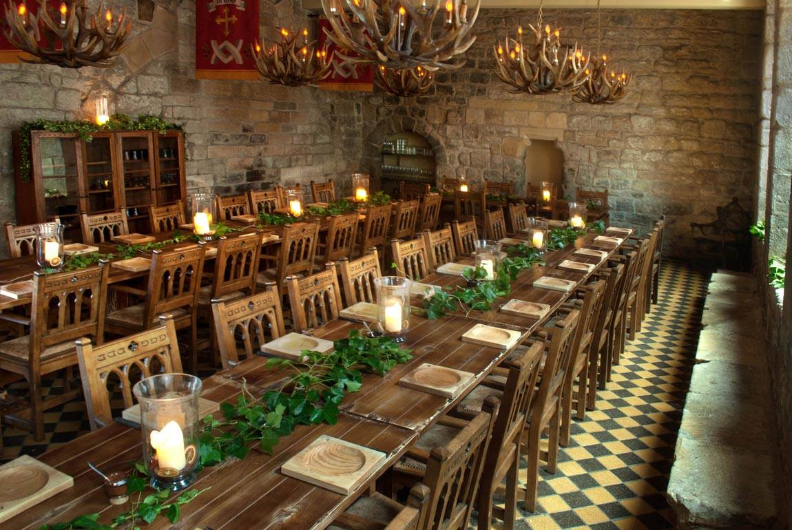 Restaurants in Newcastle , featuring an image of two long table set for dinner at Blackfriars, Newcastle