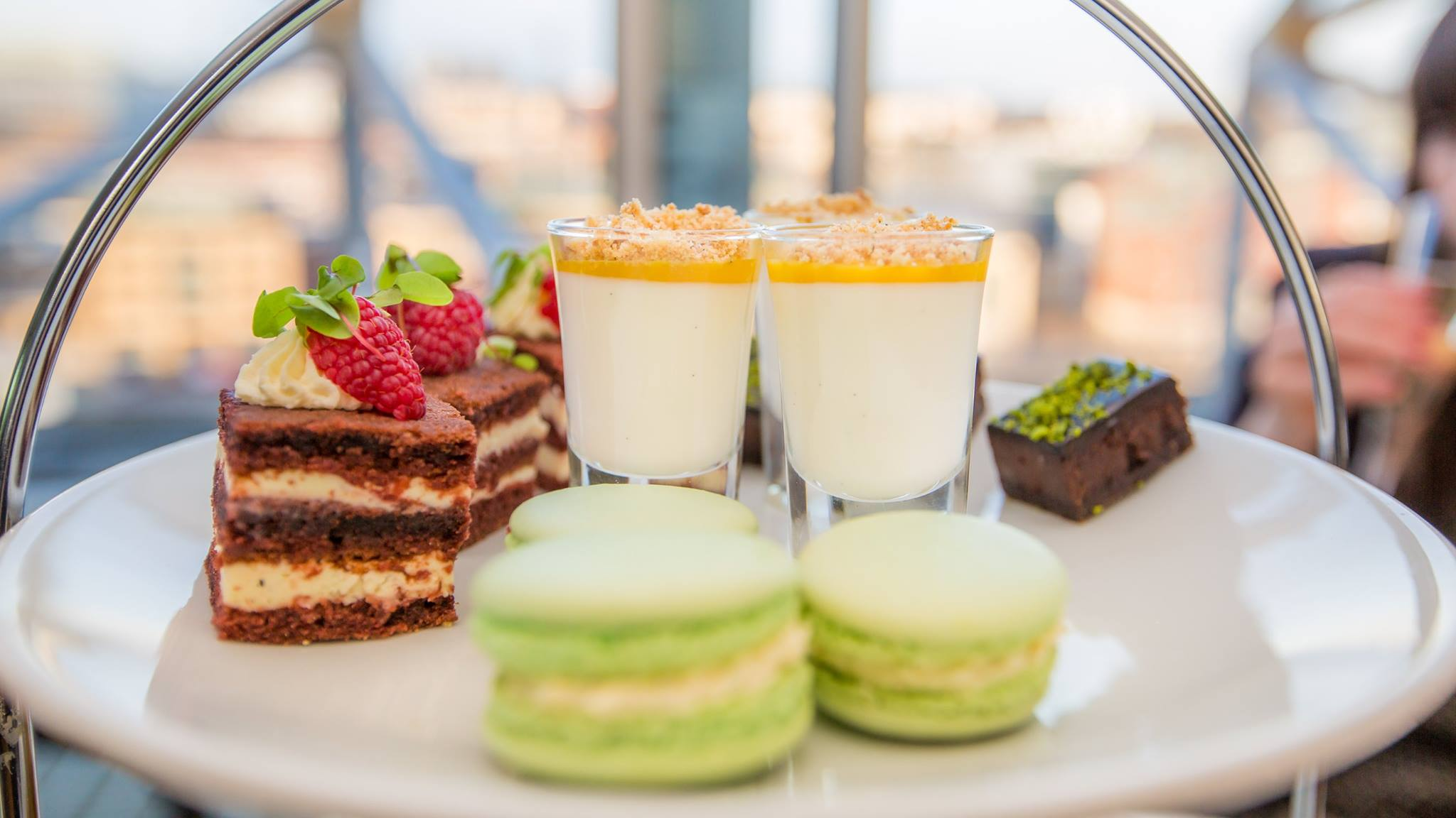 Restaurants in Newcastle , with an image of the top dessert tier of afternoon tea