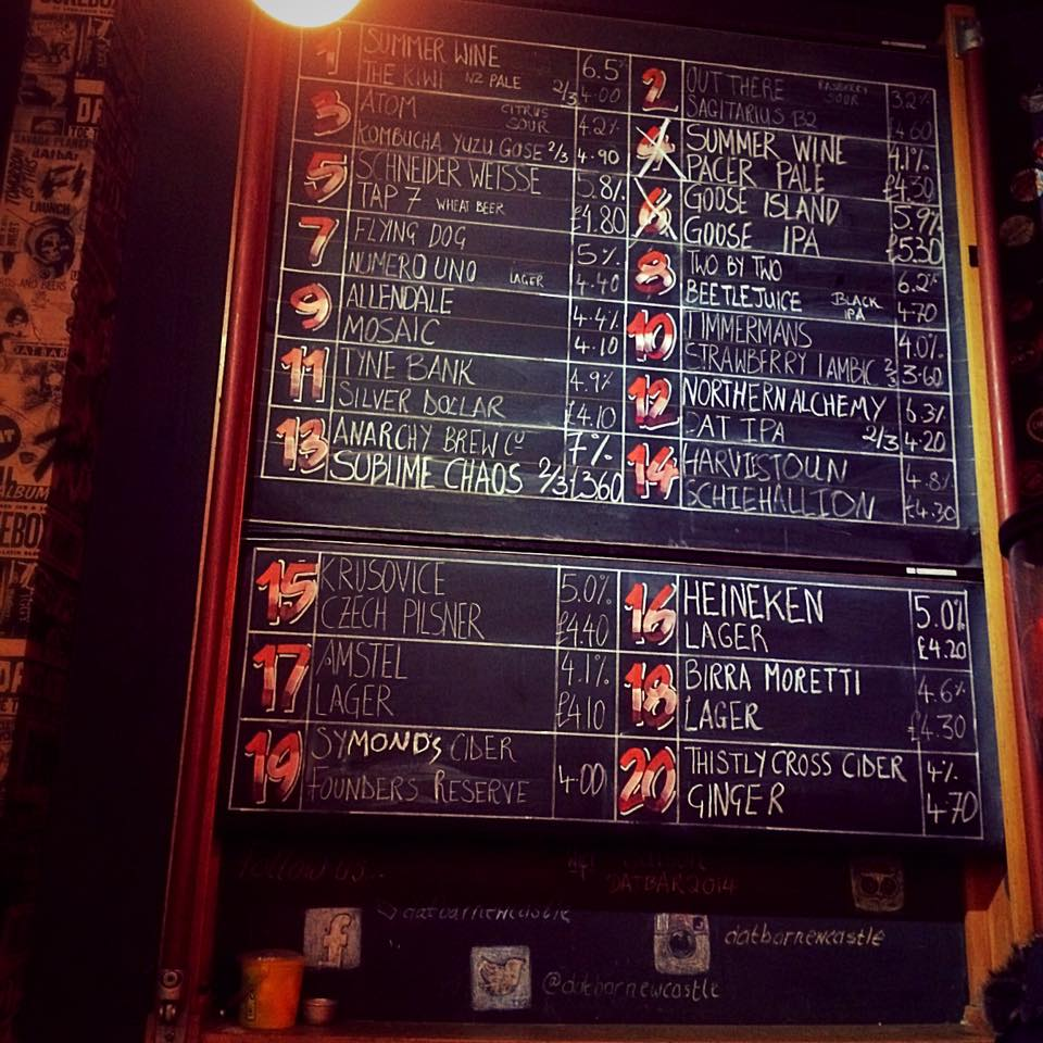 Newcastle's craft beer bars, featuring an image of the beer board at dAt Bar Newcastle