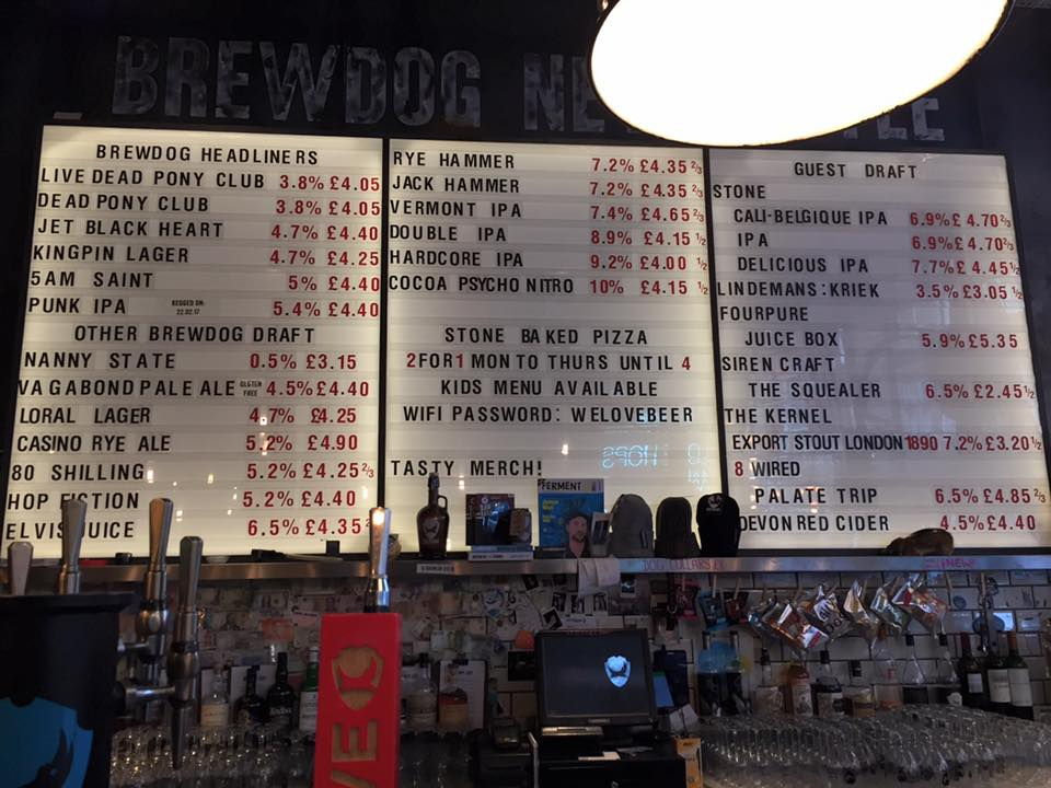 Newcastle's Craft Beer Bars, featuring the beer board at BrewDog Newcastle