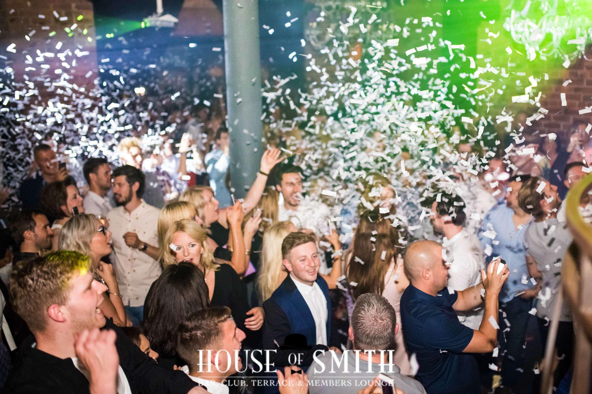 Confetti being let off into a crowd in House of Smith, where celebrities spend nights out in Newcastle