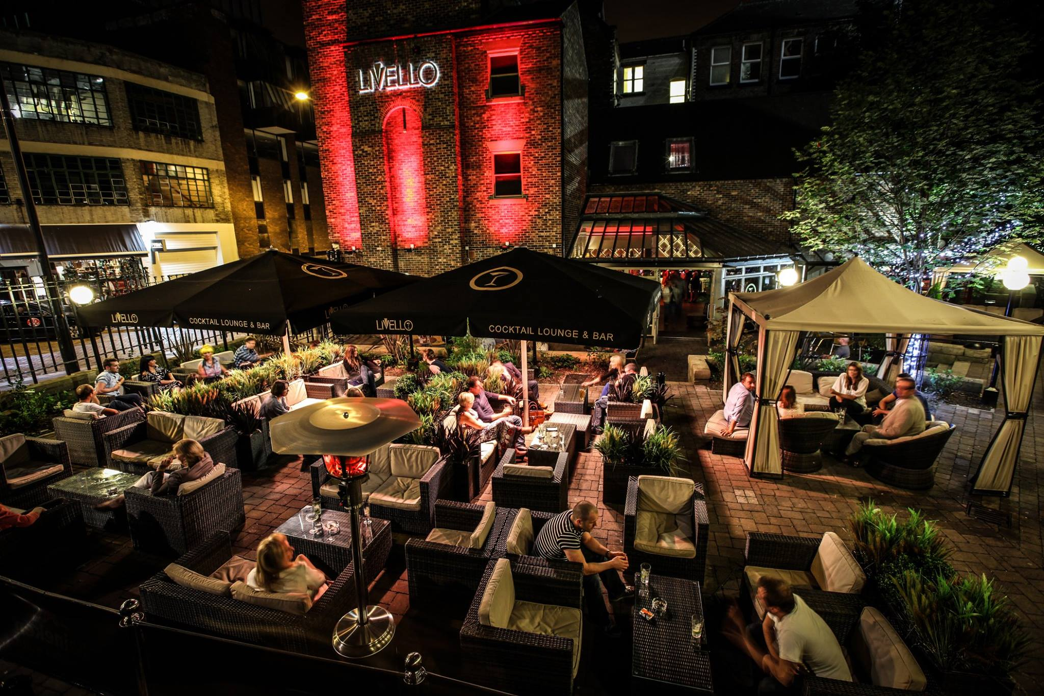 The beer garden and terrace area in Livello, where celebrities spend nights out in Newcastle