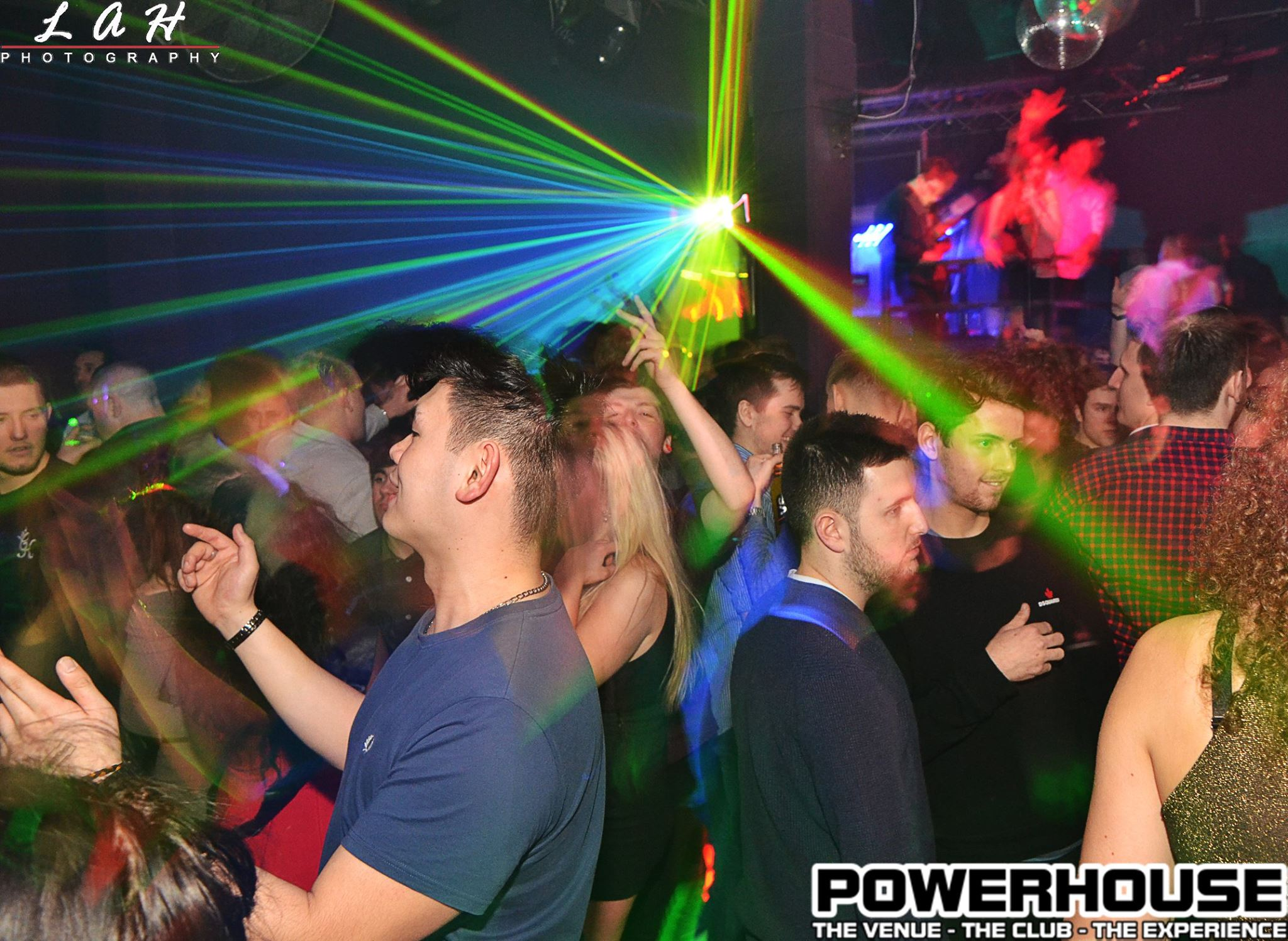 People partying under bright lights in Newcastle's Powerhouse nightclub, where celebrities often spend nights out