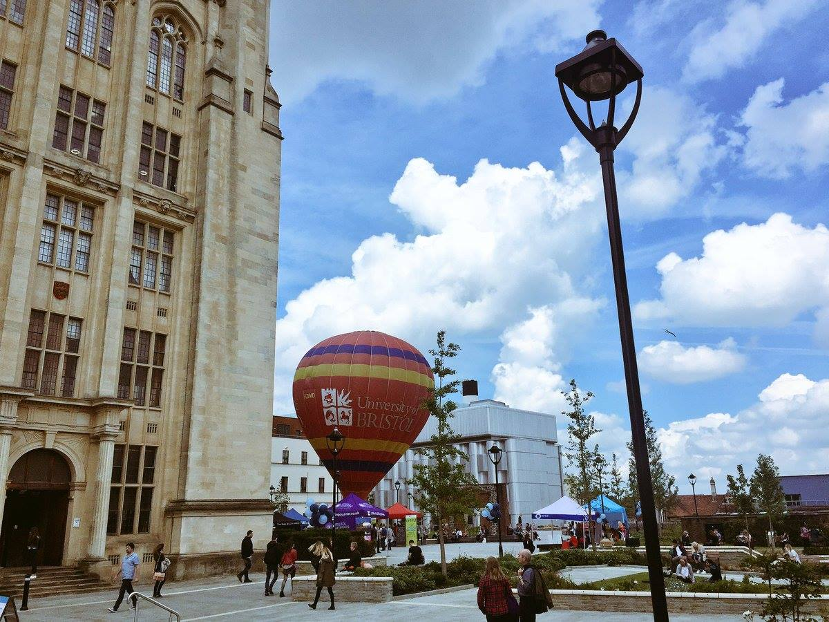 Party Universities, with an image of the exterior of University of Bristol and a hot air balloon just outside
