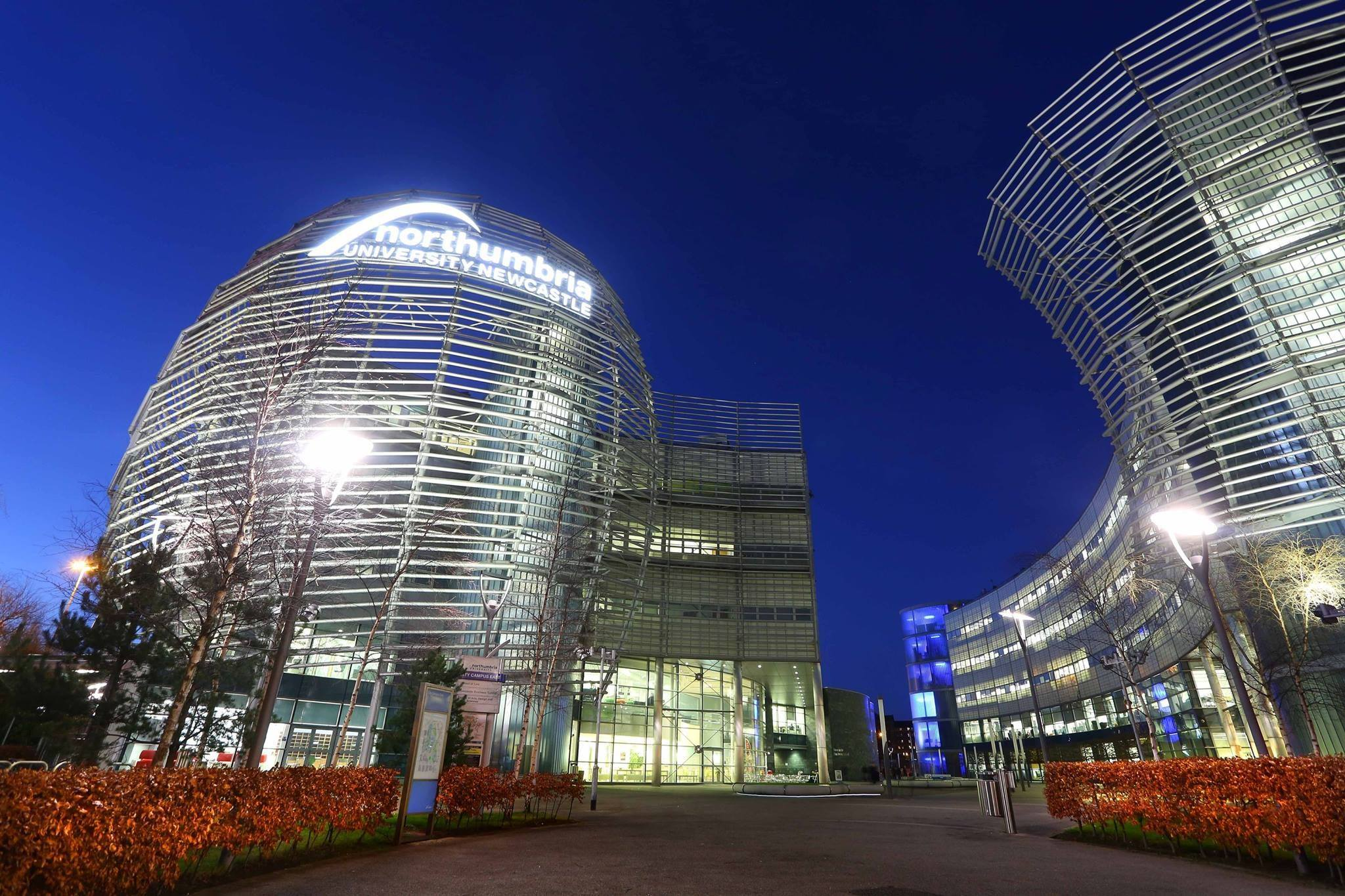 Party Universities, with an image of Northumbria University at night